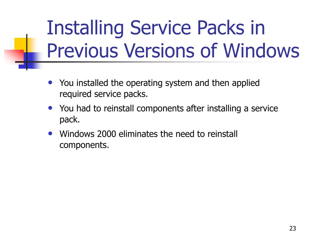 Installing Service Packs in Previous Versions of Windows