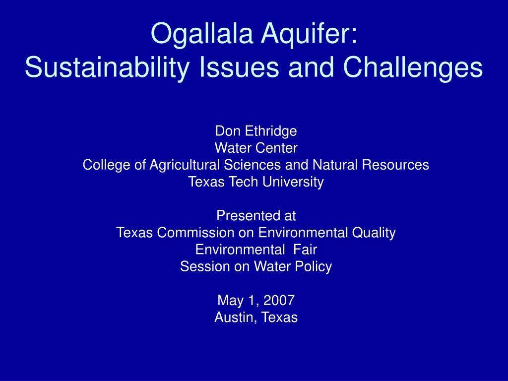 ogallala aquifer sustainability issues and challenges l.