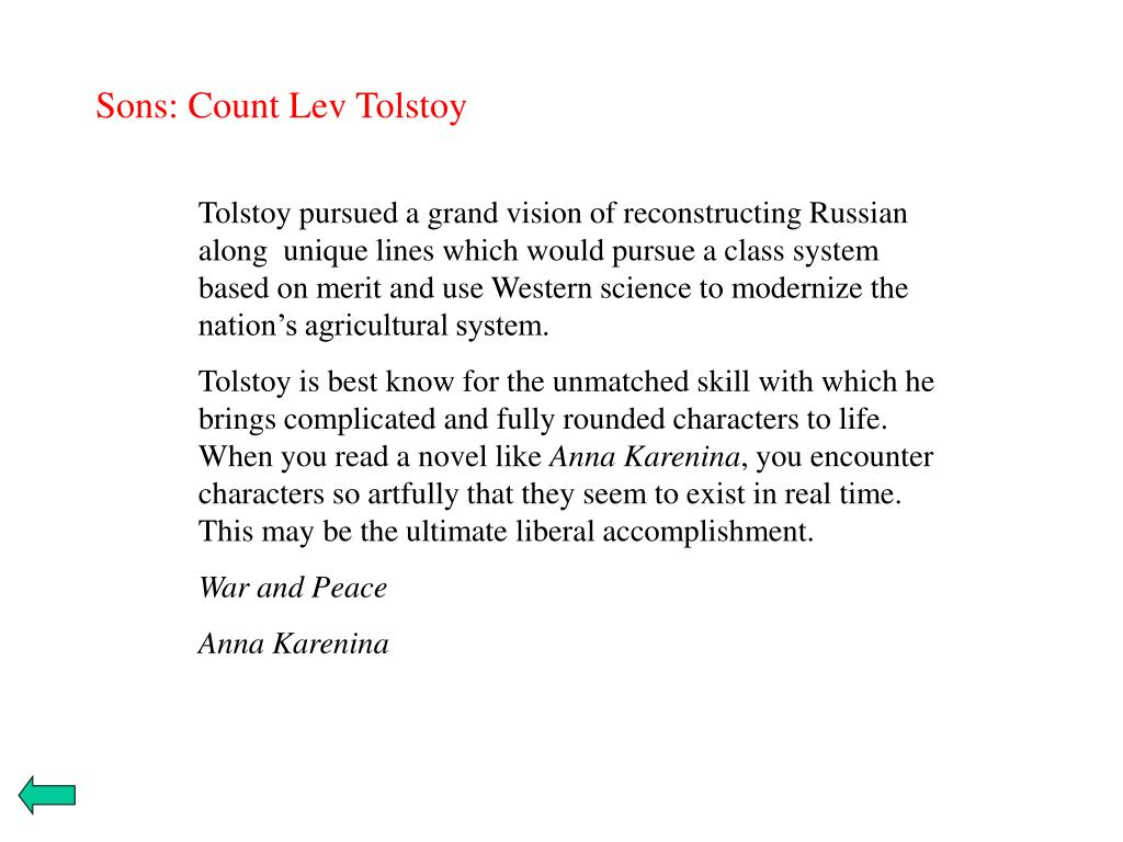 Sons: Count Lev Tolstoy