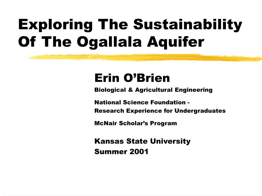 exploring the sustainability of the ogallala aquifer l.