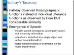 halliday s taxonony
