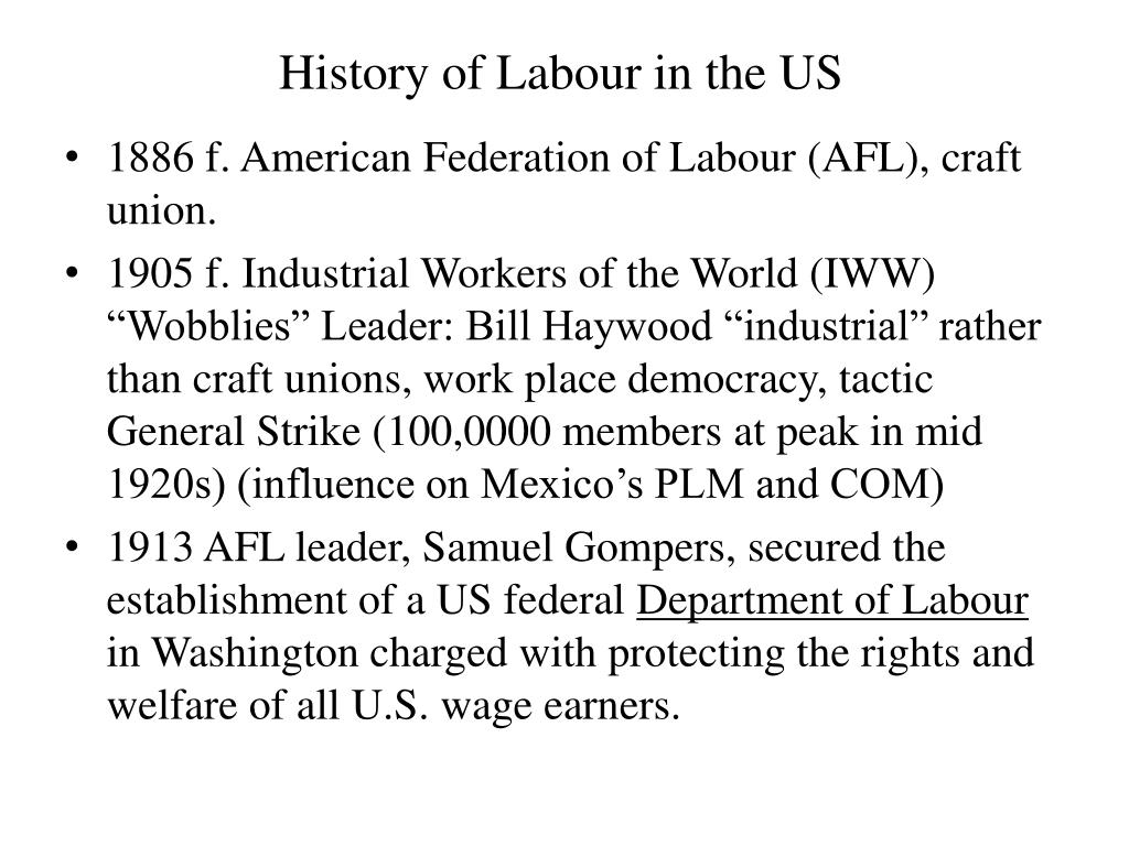 History of Labour in the US