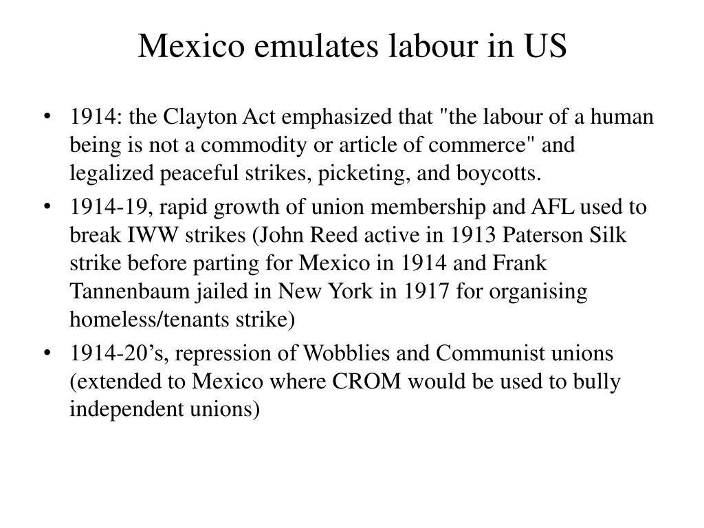 Mexico emulates labour in US