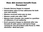 how did women benefit from peronism