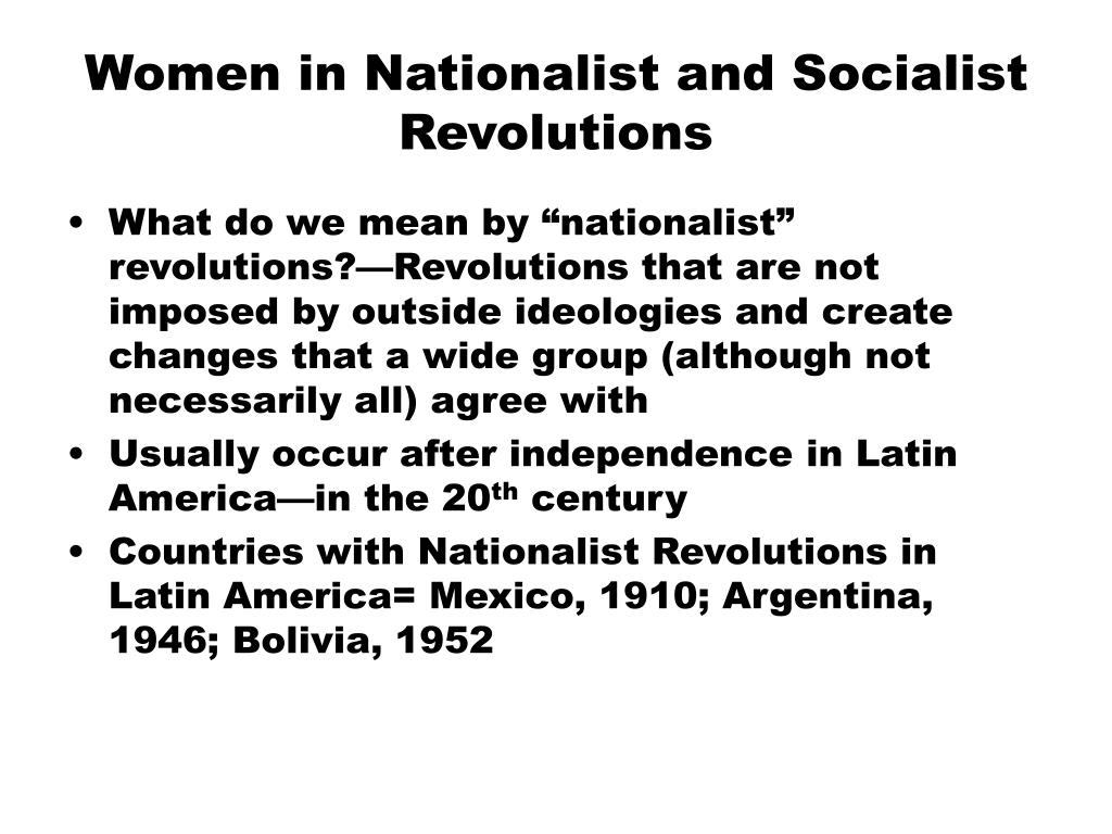 women in nationalist and socialist revolutions l.