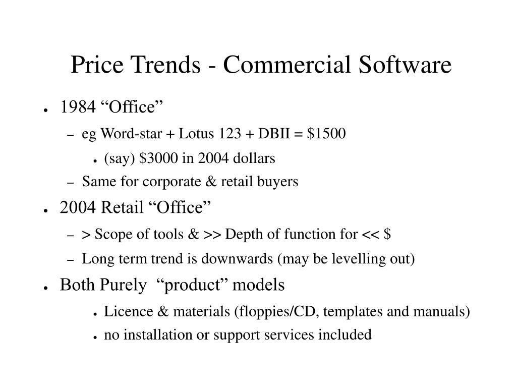 Price Trends - Commercial Software