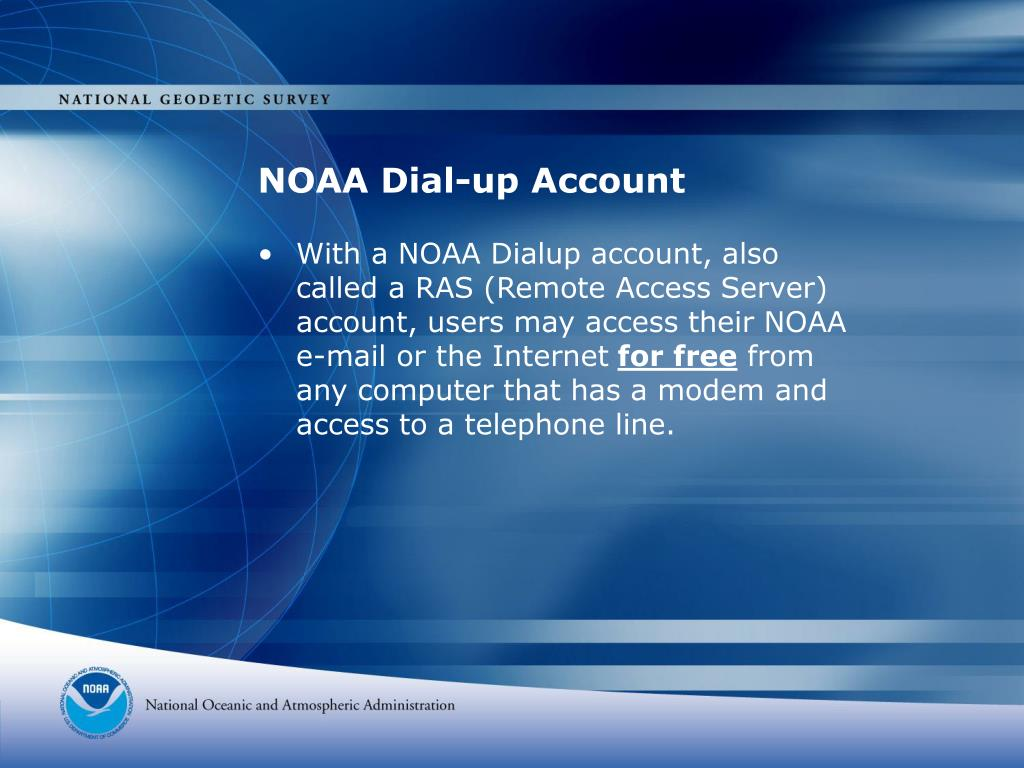 NOAA Dial-up Account