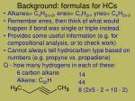 background formulas for hcs