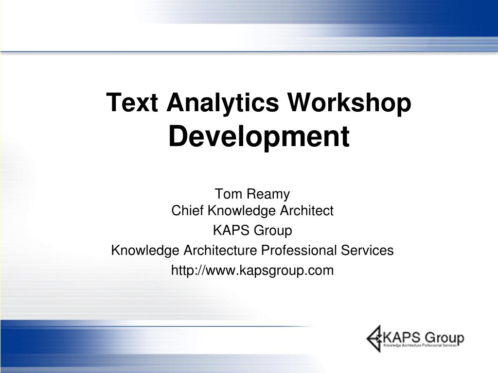 text analytics workshop development l.