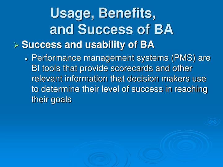 Usage, Benefits,