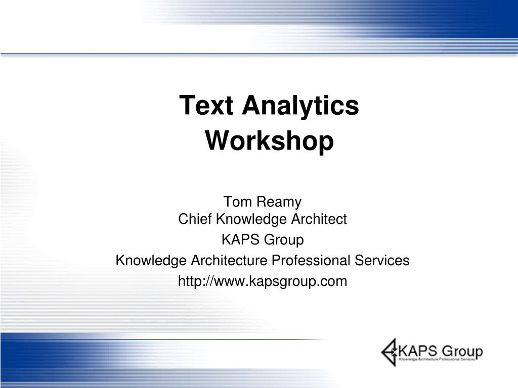 text analytics workshop l.