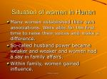 situation of women in hunan