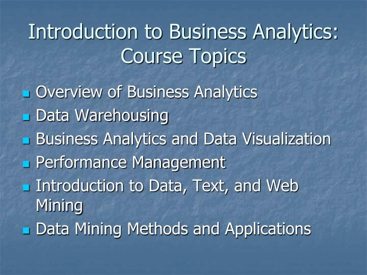 Introduction to Business Analytics: