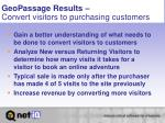 geopassage results convert visitors to purchasing customers