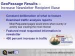 geopassage results increase newsletter recipient base