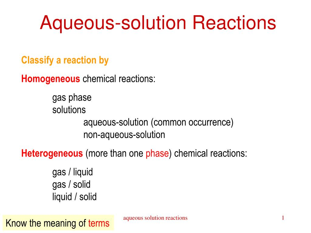 aqueous solution reactions l.