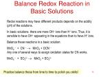 balance redox reaction in basic solutions