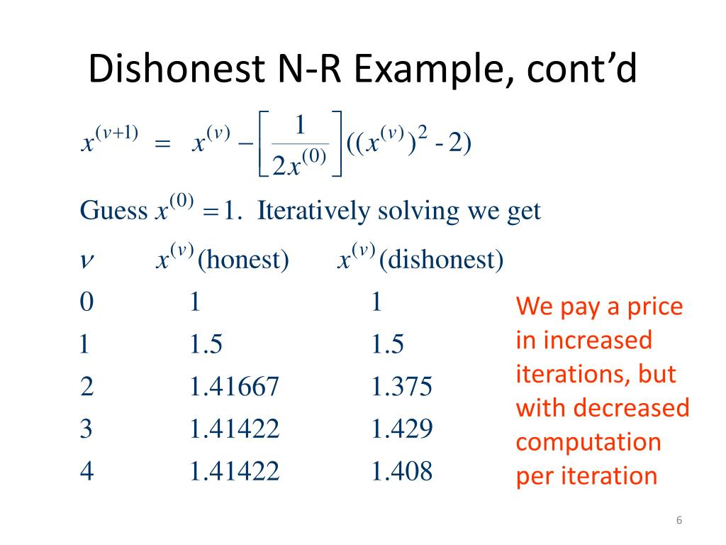 Dishonest N-R Example, cont'd