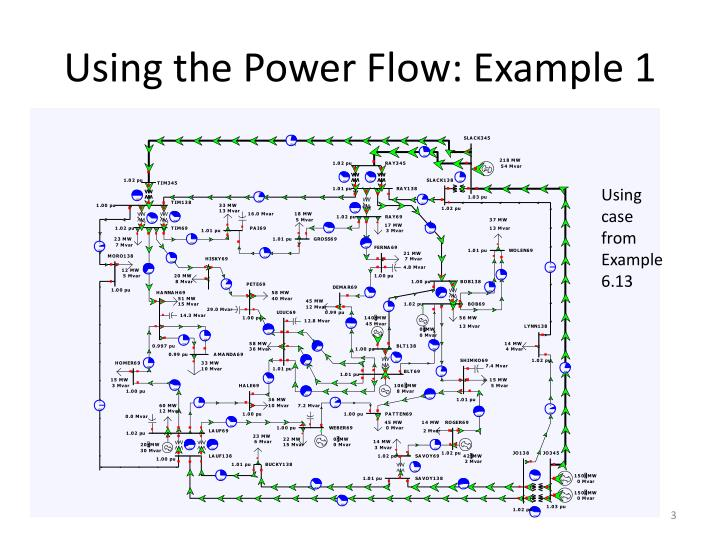 Using the power flow example 1