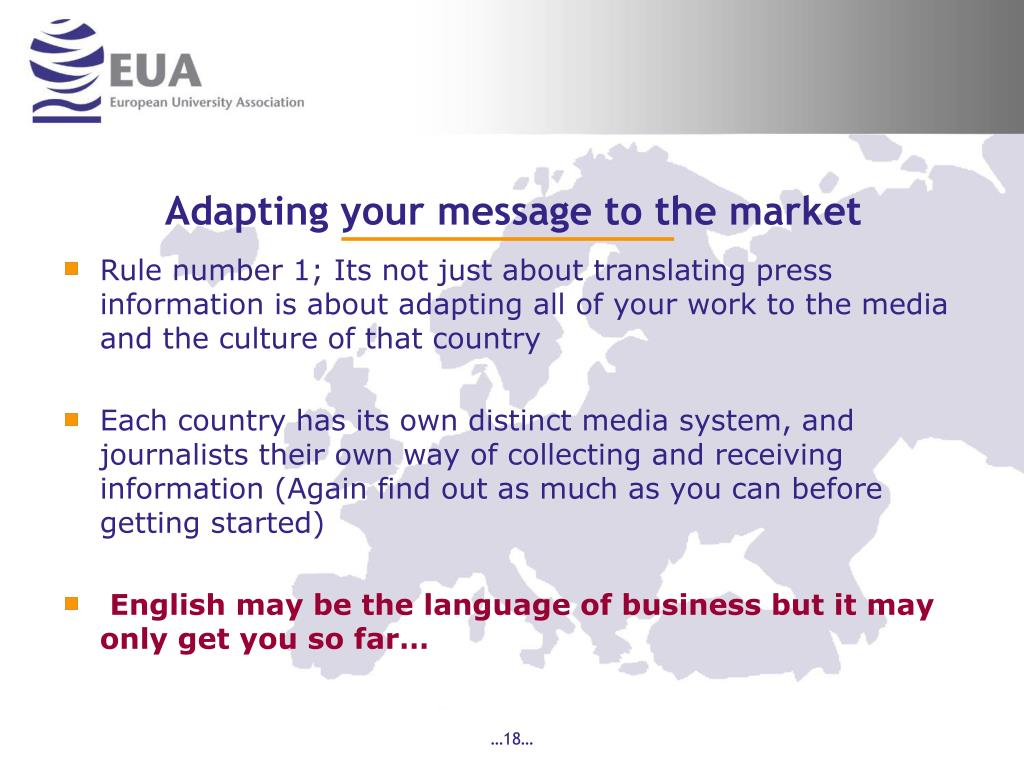 Adapting your message to the market