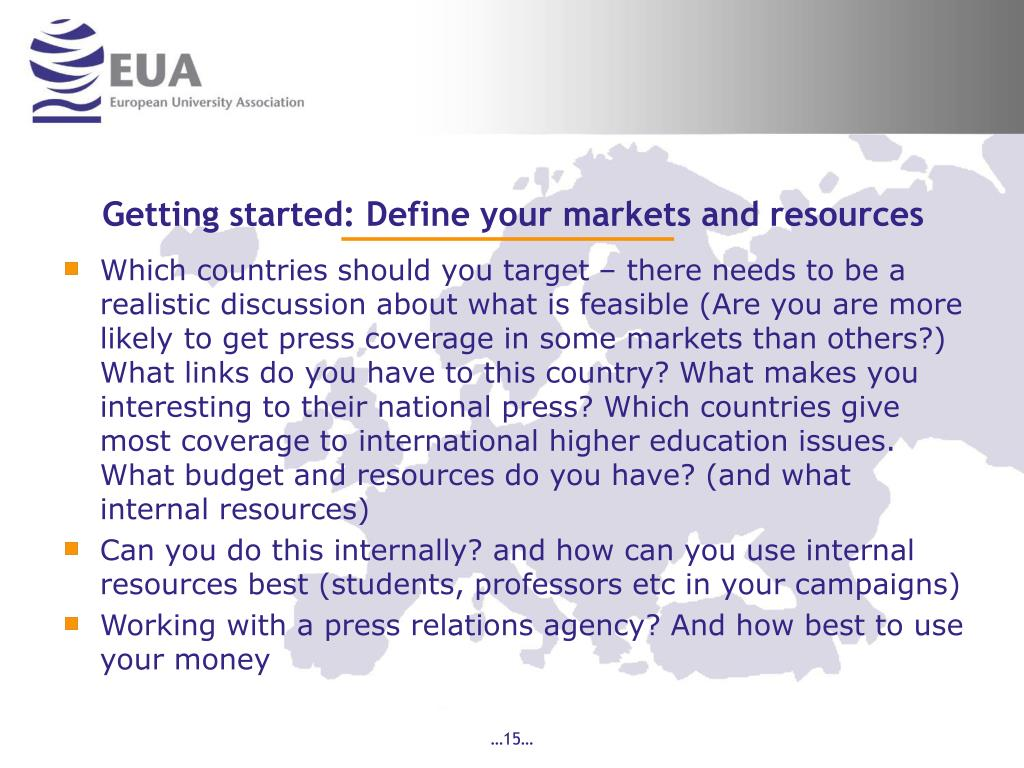 Getting started: Define your markets and resources