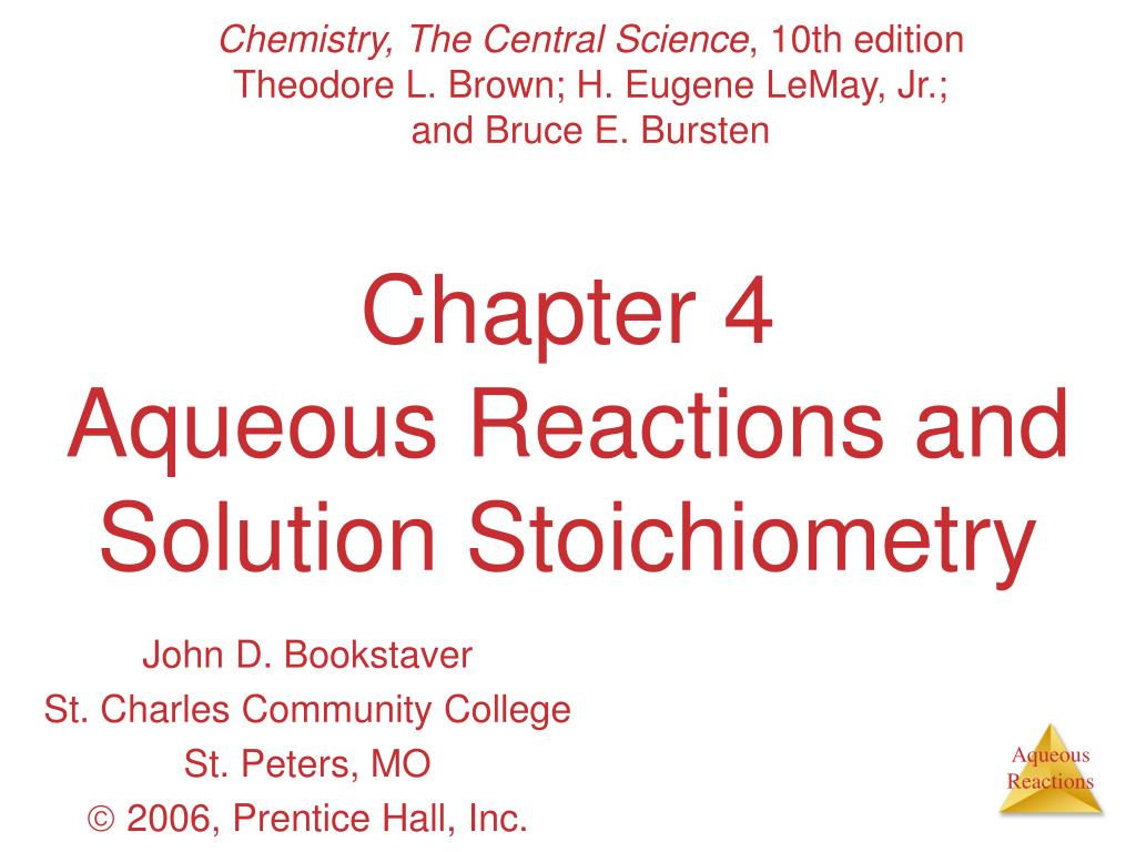 chapter 4 aqueous reactions and solution stoichiometry l.