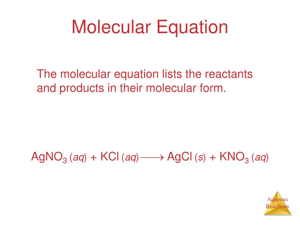 The molecular equation lists the reactants and products in their molecular form.