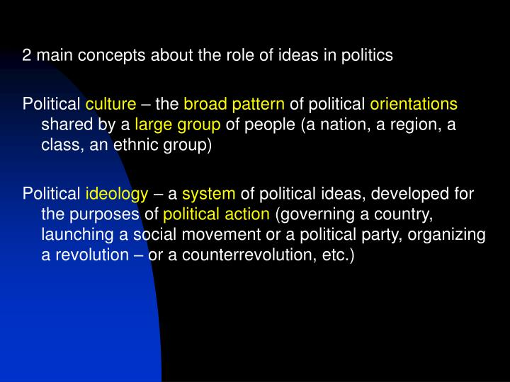 2 main concepts about the role of ideas in politics