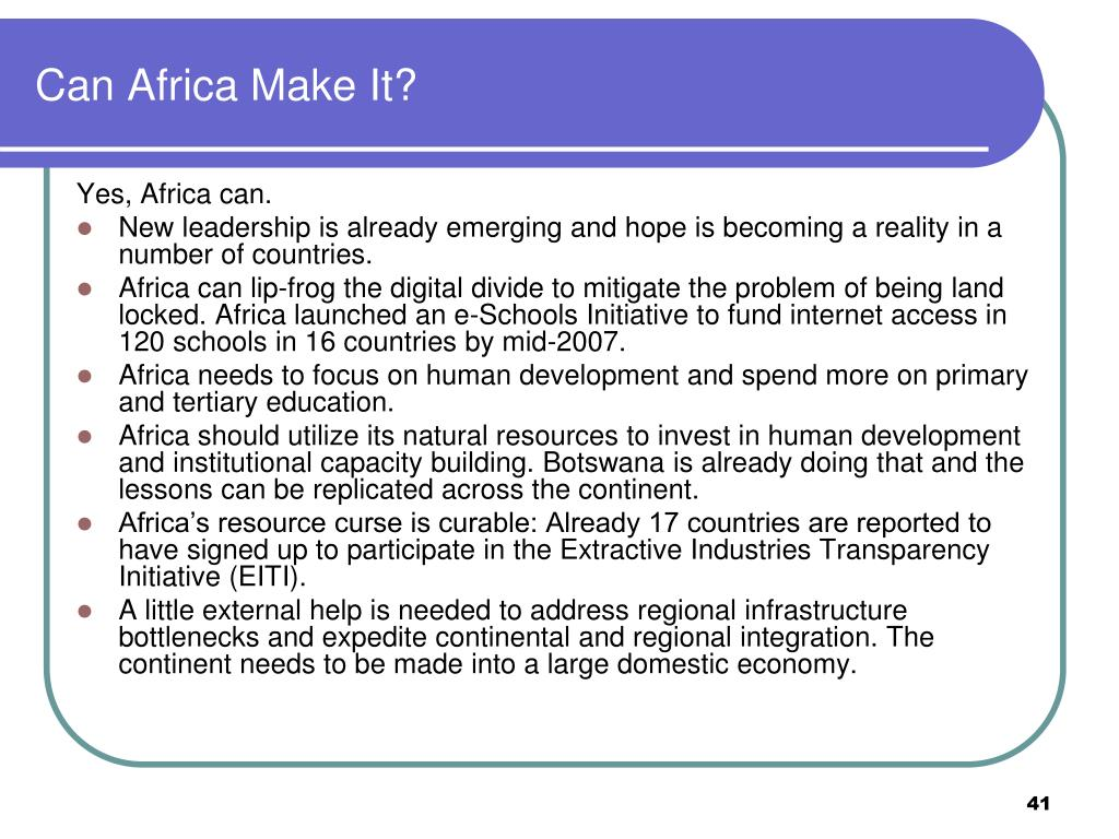 Can Africa Make It?