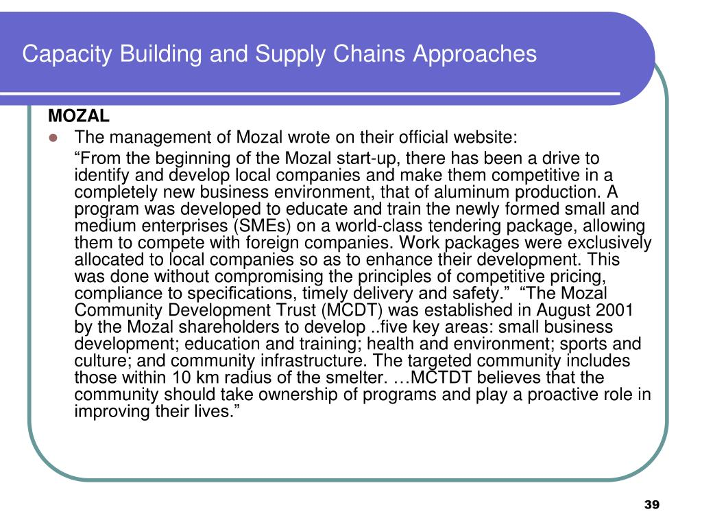 Capacity Building and Supply Chains Approaches