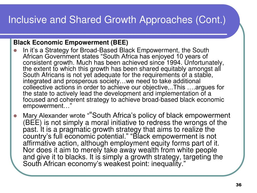 Inclusive and Shared Growth Approaches (Cont.)