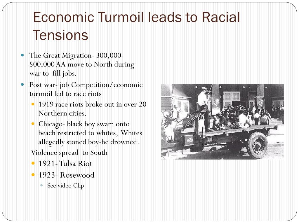 Economic Turmoil leads to Racial Tensions
