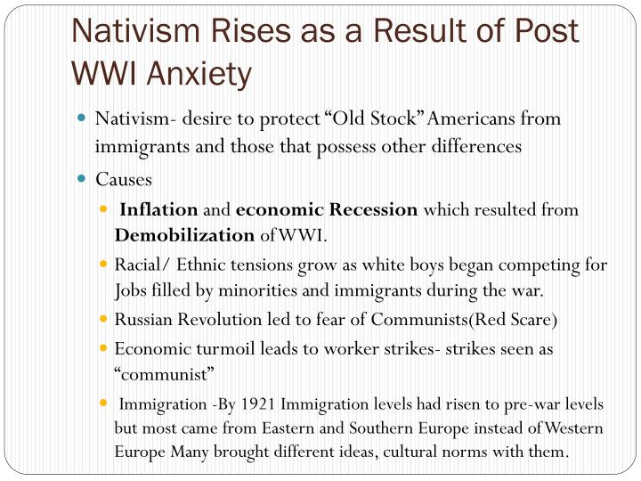 Nativism rises as a result of post wwi anxiety