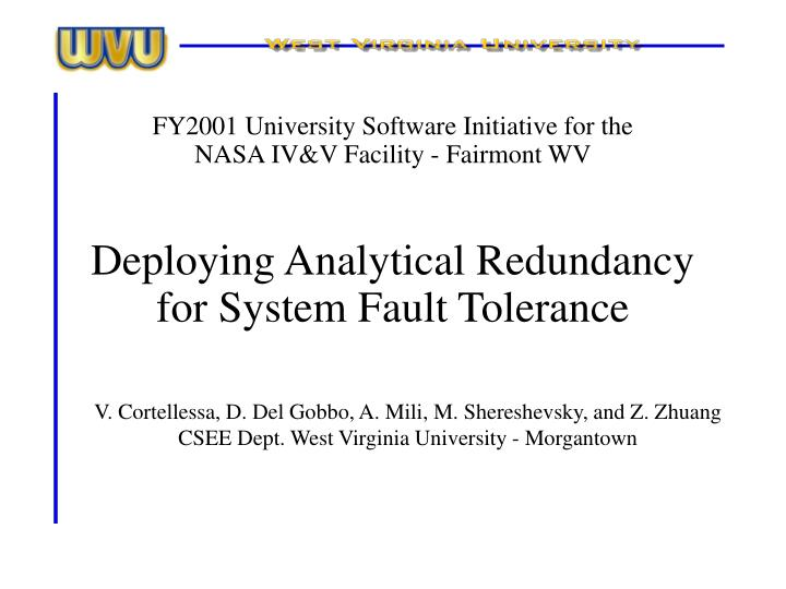 deploying analytical redundancy for system fault tolerance n.