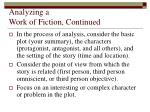 analyzing a work of fiction continued