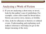 analyzing a work of fiction