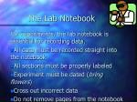 the lab notebook
