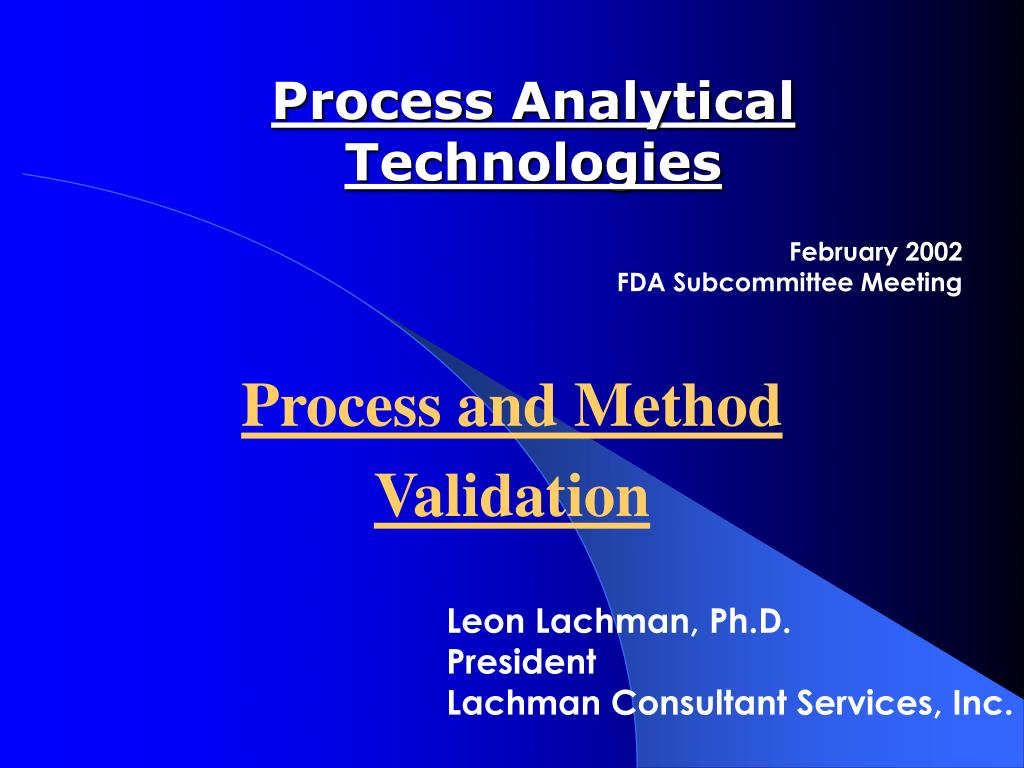 process analytical technologies l.