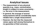 analytical issues
