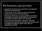 job functions and activities