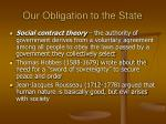 our obligation to the state