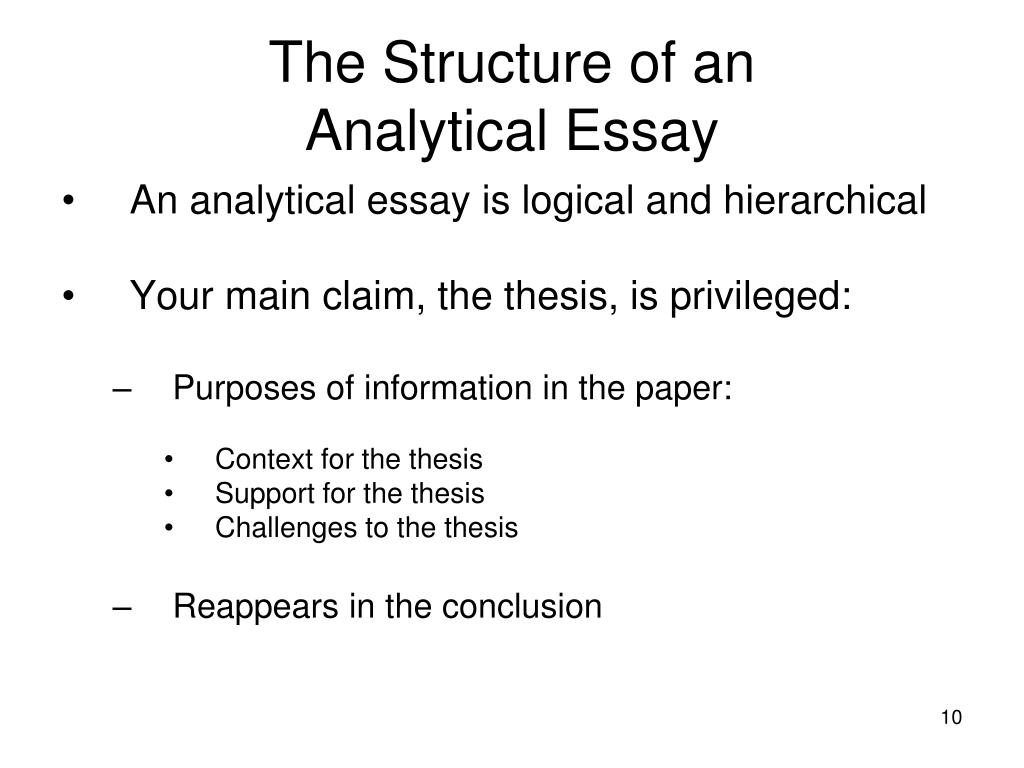 Argumentative Essay Topics For High School  Living A Healthy Lifestyle Essay also Synthesis Essays Ppt   The Analytical Essay Powerpoint Presentation   Id Healthy Eating Habits Essay