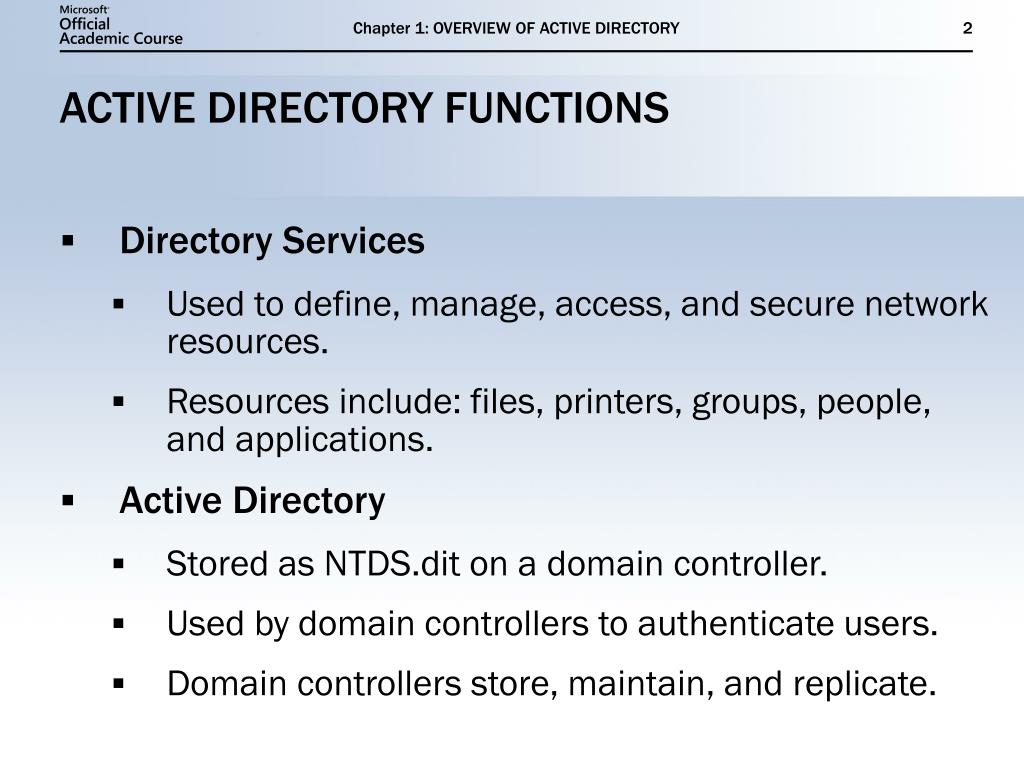 Chapter 1: OVERVIEW OF ACTIVE DIRECTORY