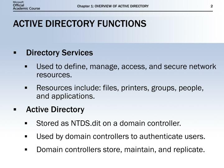 Active directory functions