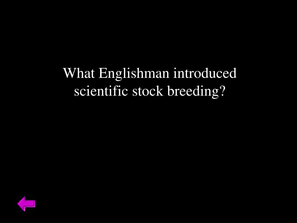 What Englishman introduced scientific stock breeding?