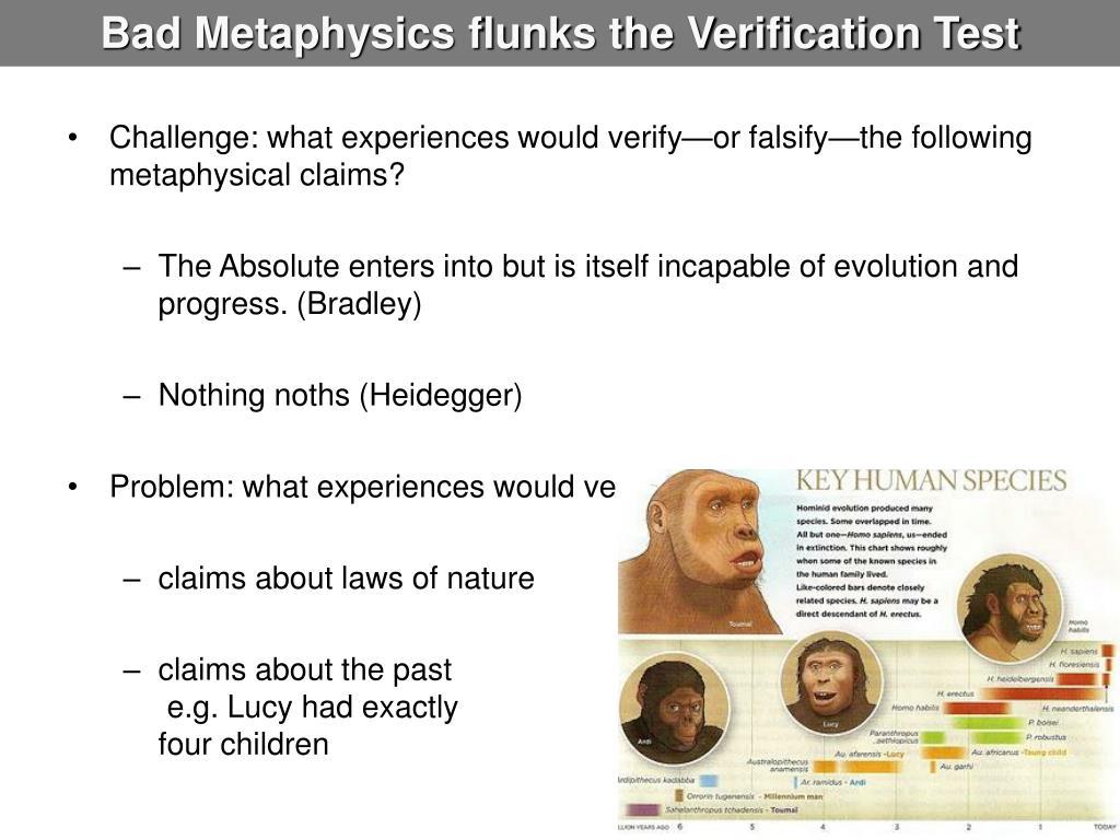 Bad Metaphysics flunks the Verification Test