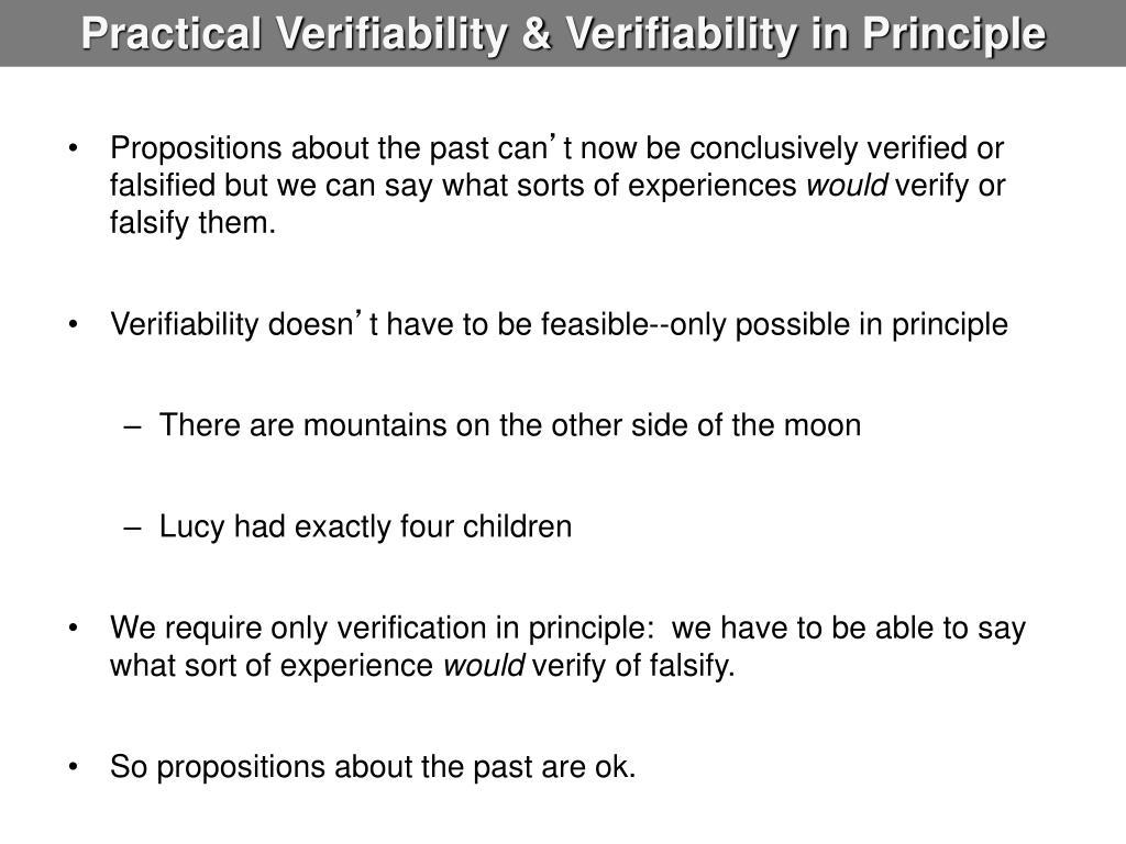 Practical Verifiability & Verifiability in Principle