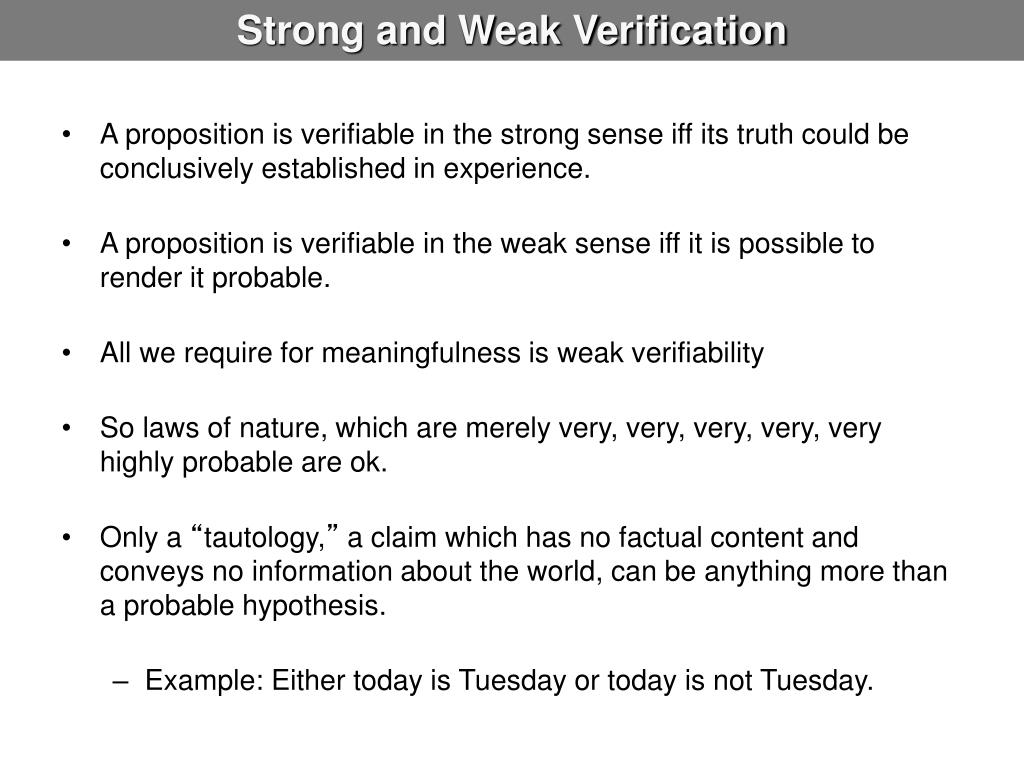 Strong and Weak Verification