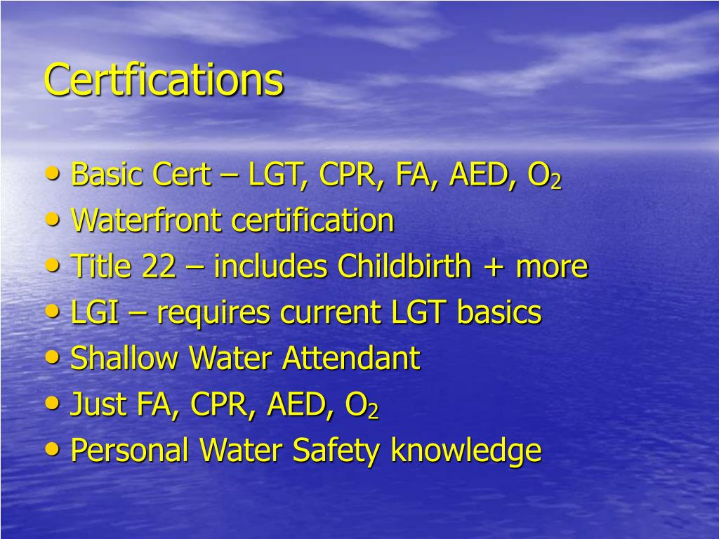 Certfications