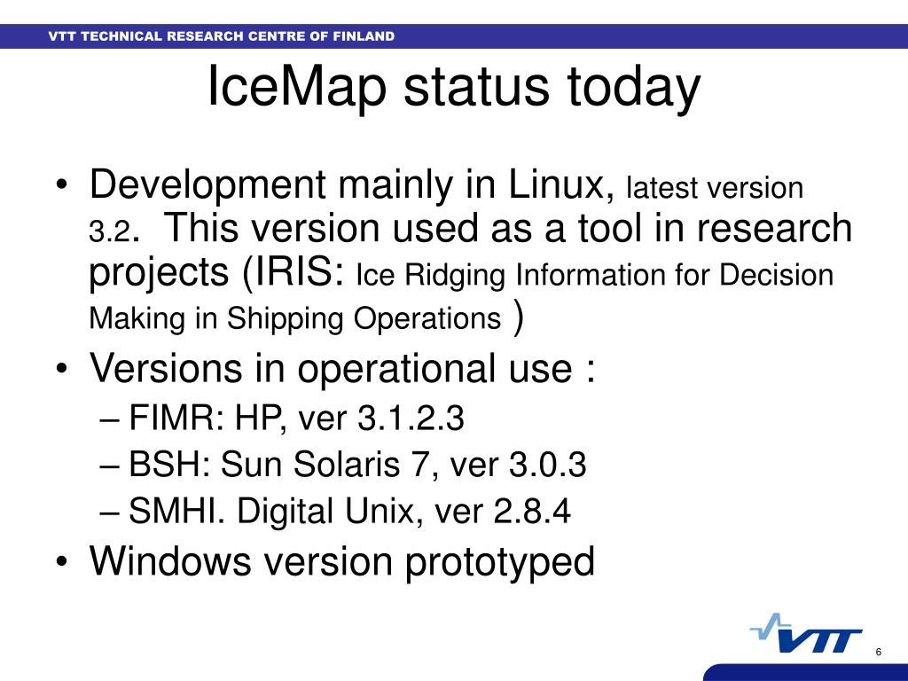 IceMap status today